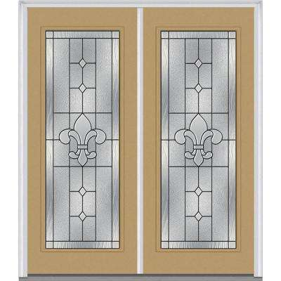 64 in. x 80 in. Carrollton Right-Hand Inswing Full Lite Decorative Glass Painted Steel Prehung Front Door