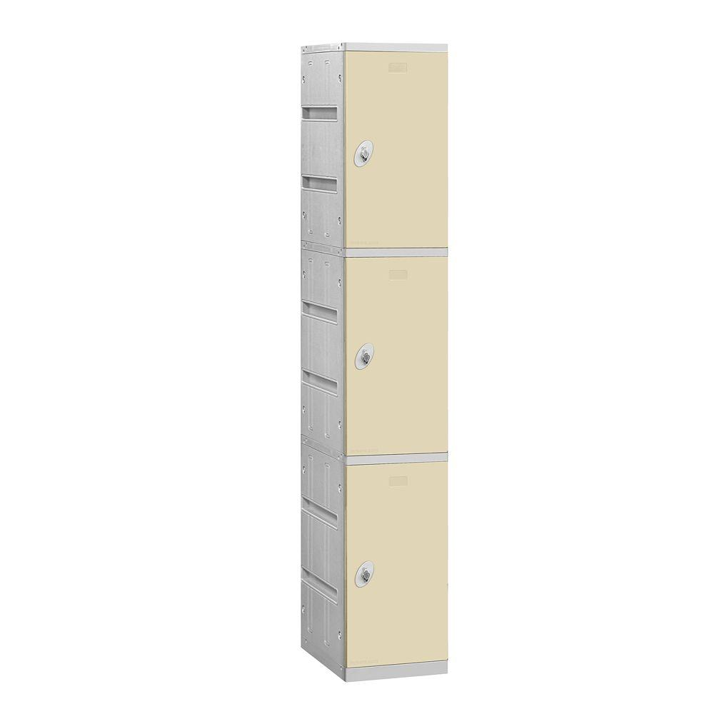 Salsbury Industries 93000 Series 12.75 in. W x 74 in. H x 18 in. D 3-Tier Plastic Lockers Unassembled in Tan