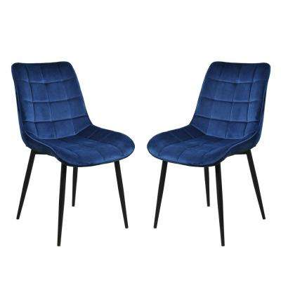 Blue High-End Velvet Dining Chairs (Set of 2)