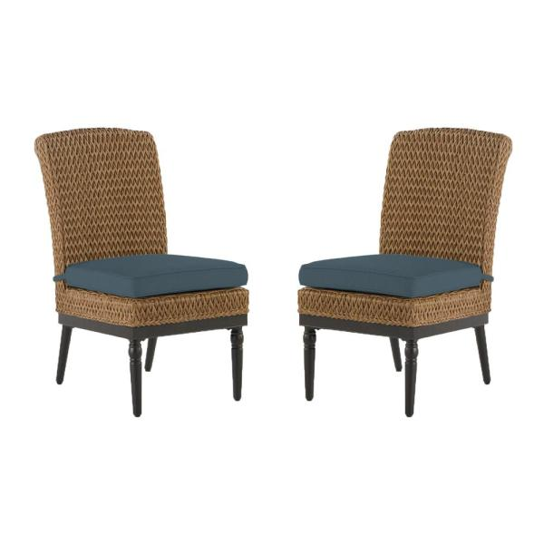 Camden Light Brown Seagrass Wicker Outdoor Patio Armless Dining Chair with Sunbrella Denim Blue Cushions (2-Pack)