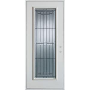 36 in. x 80 in. Architectural Full Lite Painted White Left-Hand Inswing Steel Prehung Front Door