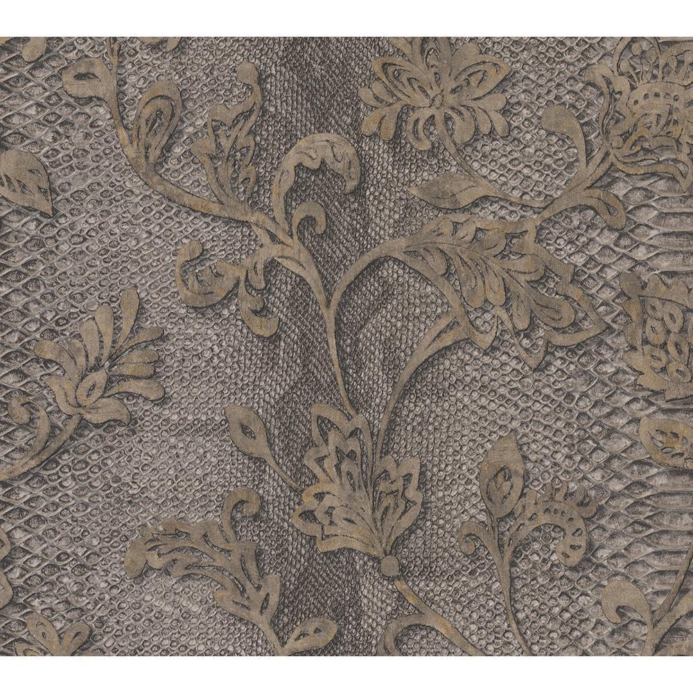 Puglia Chocolate Python Arabesque Wallpaper Sample