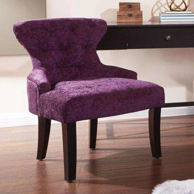Curves Walker Grape Fabric Hour Glass Accent Chair with Espresso Legs