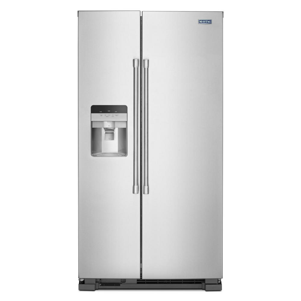 Maytag 25 Cu Ft Side By Refrigerator In Fingerprint Resistant Stainless Steel With Exterior Ice And Water Dispenser