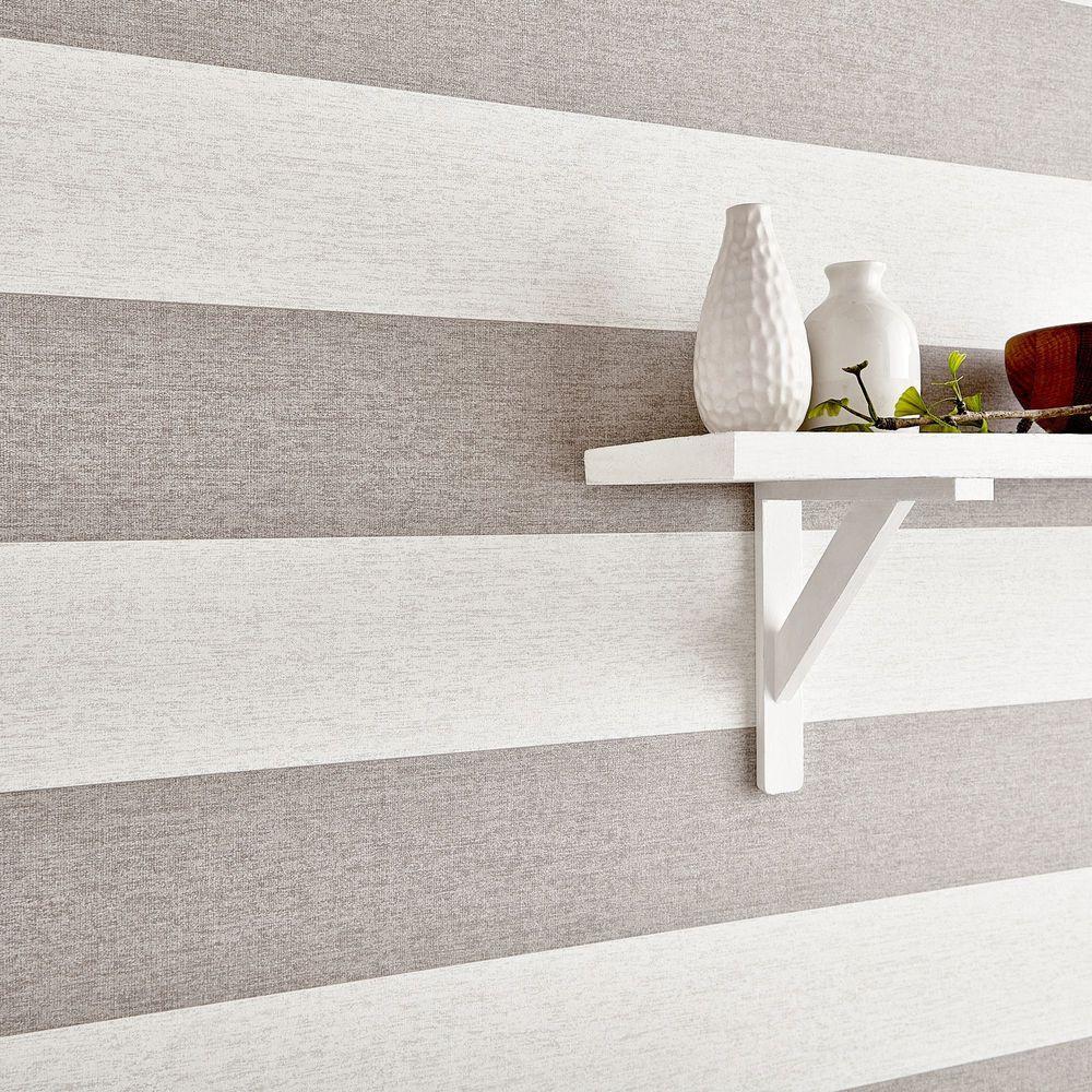 Natural Calico Stripe Wallpaper