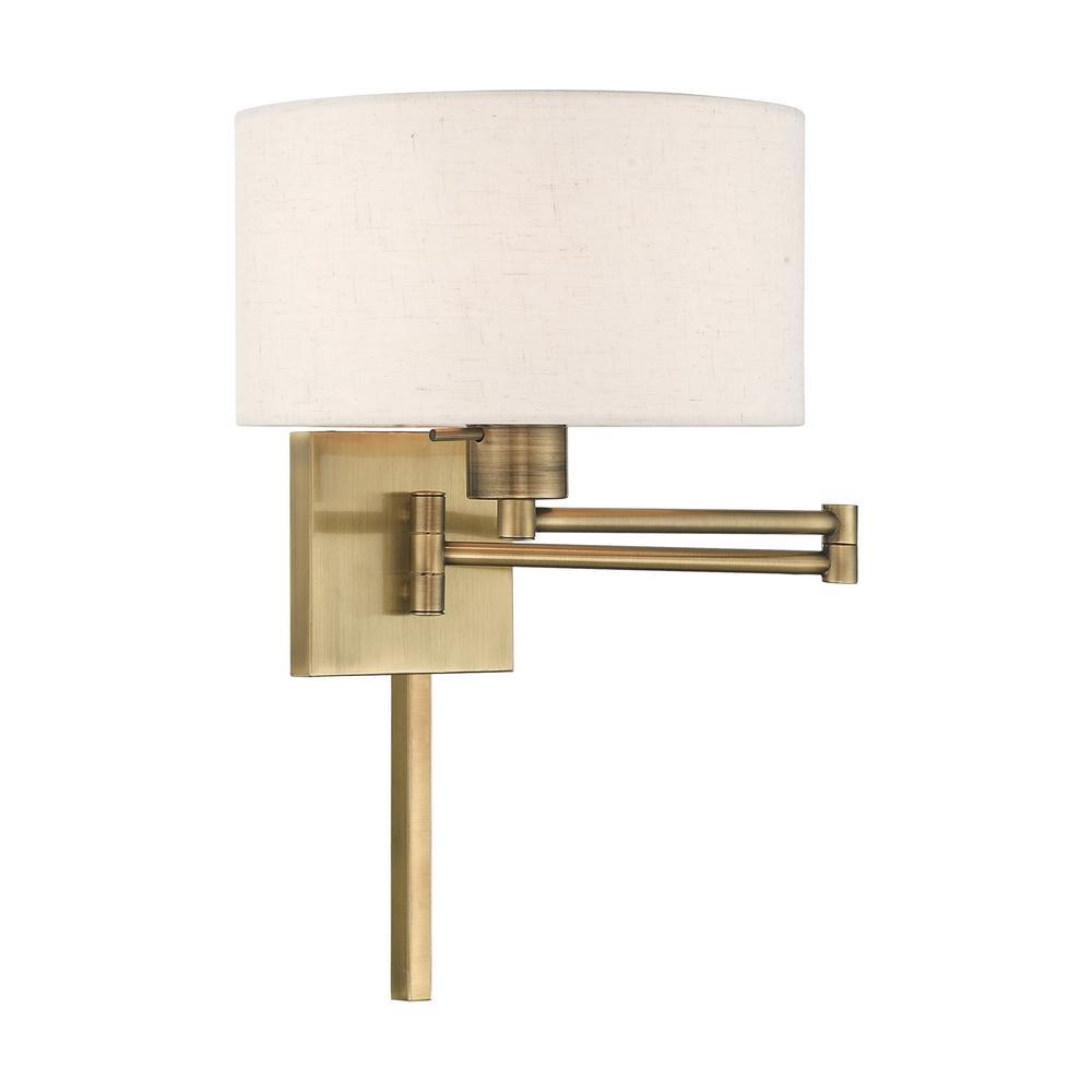 1-Light Antique Brass Swing Arm Wall Lamp