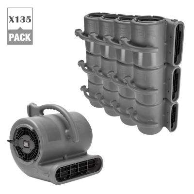 1/2 HP Air Mover Janitorial Water Damage Restoration Stack Carpet Dryer Floor Blower Fan Grey (135-Pack)