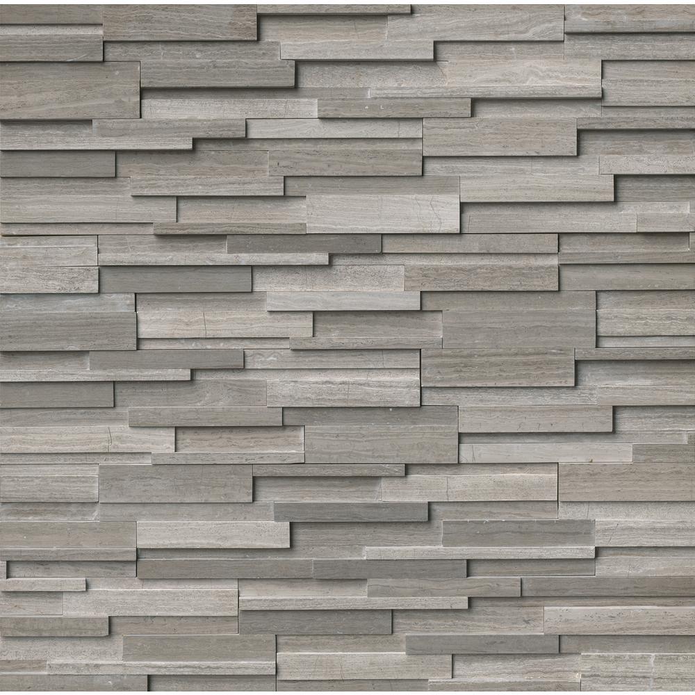 Gray Oak 3D Ledger Panel 6 in. x 24 in. Honed Marble Wall Tile (10 cases / 60 sq. ft. / pallet)