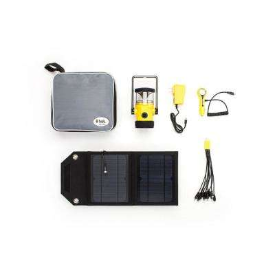 Heli 2200 Kit AC Wall Adapter/10-in-1/DC Car Charger/Carrying Case/7-Watts Solar Panel LED Rechargeable Lantern, Yellow