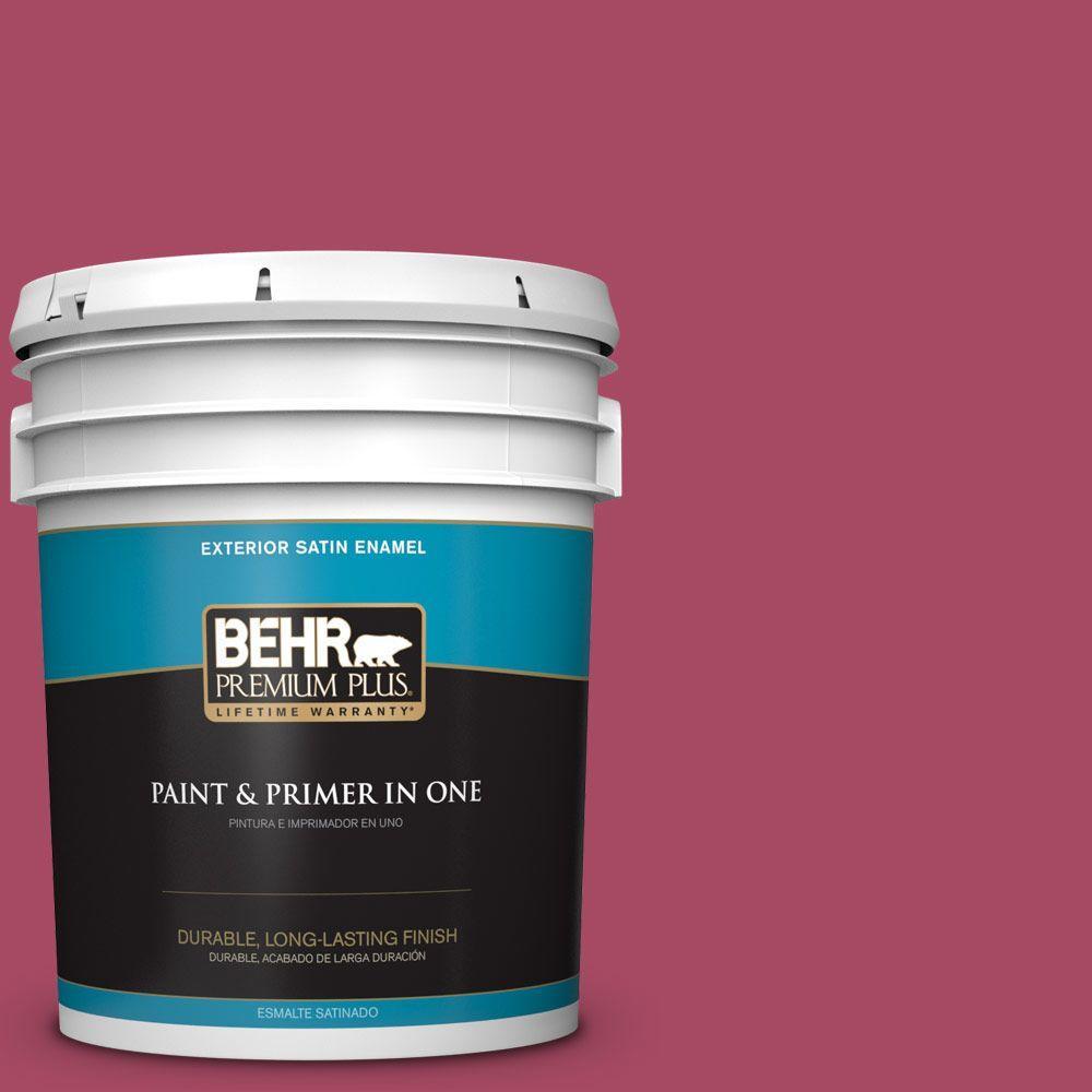 BEHR Premium Plus 5-gal. #120D-5 Glazed Raspberry Satin Enamel Exterior Paint