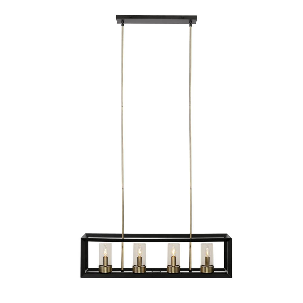 Globe Electric Verona 4 Light Dark Bronze Chandelier With Clear Glass Shades