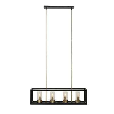 Verona 4-Light Dark Bronze Chandelier with Clear Glass Shades