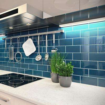 Dark Teal 3 in. x 6 in. x 8 mm Glass Subway Tile (5.5 sq. ft./case)