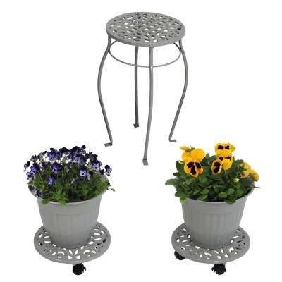 Sunnydaze 5-Piece Dark Gray Cast Iron Planter, Caddy and Plant Stand Set