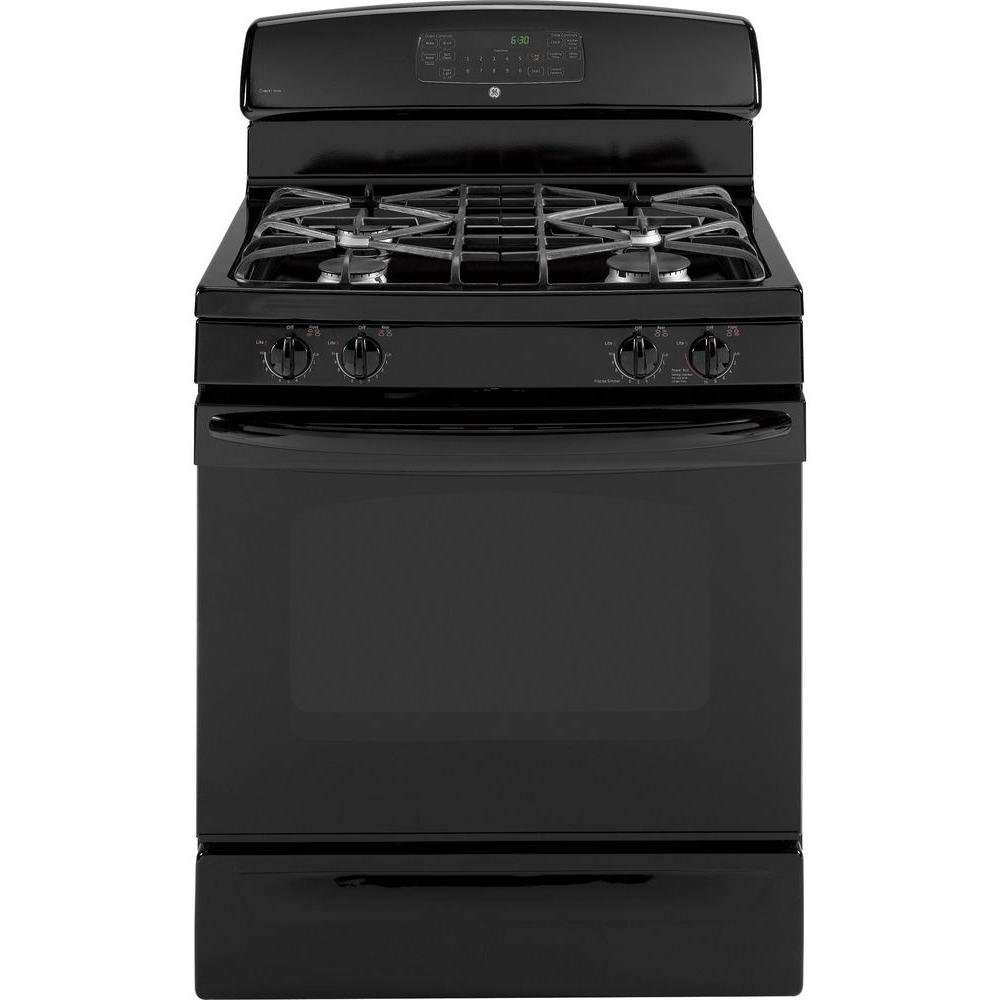 30 in. Self-Cleaning Freestanding Gas Convection Range in Black A new range should meet all your cooking needs for years to come: from warming a simple pan of soup for one person, to handling a large dinner party or holiday meal for the whole family. Plus, your stove should look great in your kitchen, and clean up with ease. The GE freestanding range configuration is designed to fit common cutouts and is easy to install. The control panel is above the cooktop surface, placed in the back of the stove. Color: Black.