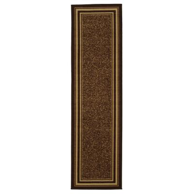 Ottohome Collection Brown Bordered Design 2 ft. 7 in. x 10 ft. Runner