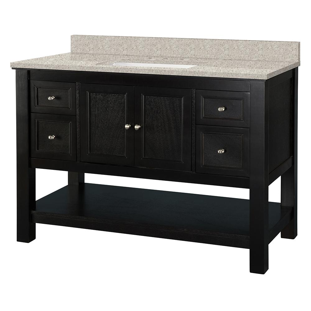 Home Decorators Collection Gazette 49 in. W x 22 in. D Vanity in Espresso with Engineered Marble Vanity Top in Sedona with White Sink