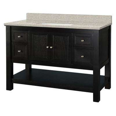Gazette 49 in. W x 22 in. D Vanity in Espresso with Engineered Marble Vanity Top in Sedona with White Sink