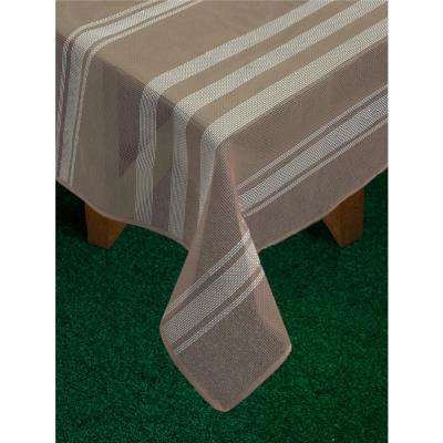 Bistro Stripe 60 in. x 84 in. Sand Vinyl and Poly Tablecloth