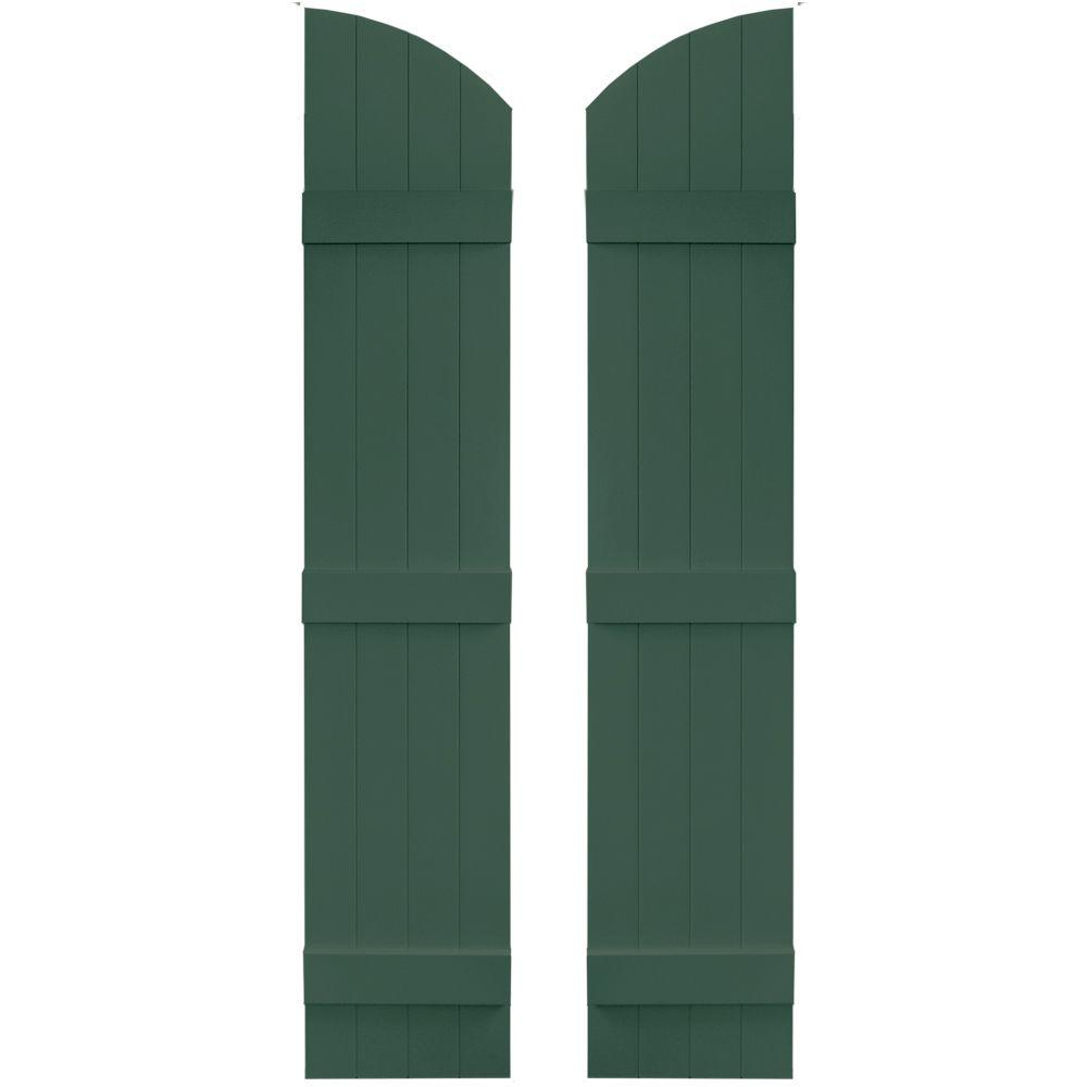 Builders Edge 14 in. x 65 in. Board-N-Batten Shutters Pair, 4 Boards Joined with Arch Top #028 Forest Green