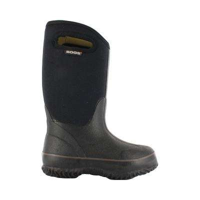 Classic High Handles Kids 10 in. Size 3 Black Rubber with Neoprene Waterproof Boot
