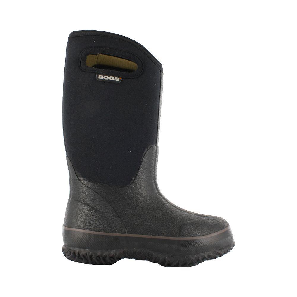 BOGS Classic High Handles Kids 10 in. Size 12 Black Rubber with Neoprene Waterproof Boot