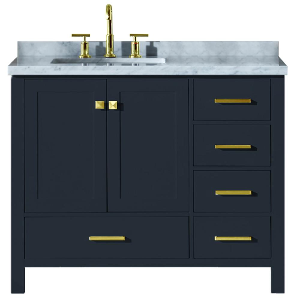 Ariel Cambridge 43 in. W x 22 in. D Vanity in Midnight Blue with Marble Vanity Top in Carrara White with White Basin