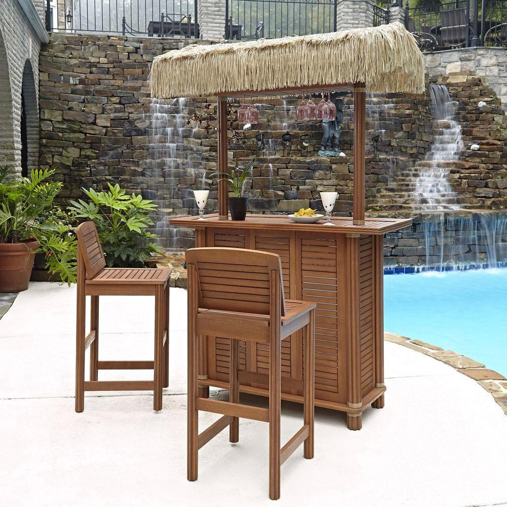 Home Styles Bali Hai Outdoor Patio Tiki Bar and 2 Stools  : home styles patio bar sets 5662 998 641000 from www.homedepot.com size 1000 x 1000 jpeg 208kB