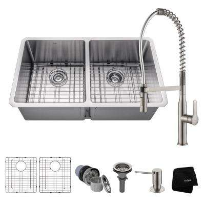 Handmade Undermount Stainless Steel 33 in. 50/50 Double Bowl Kitchen Sink with Faucet in Stainless Steel