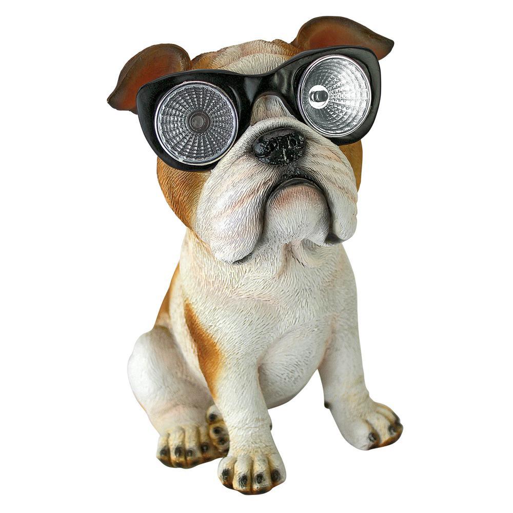 7.5 in. H Bright Eyes Solar Bulldog Garden Statue
