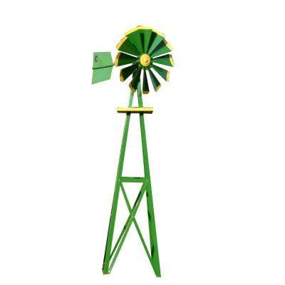 Small Green and Yellow Powder Coated Backyard Windmill