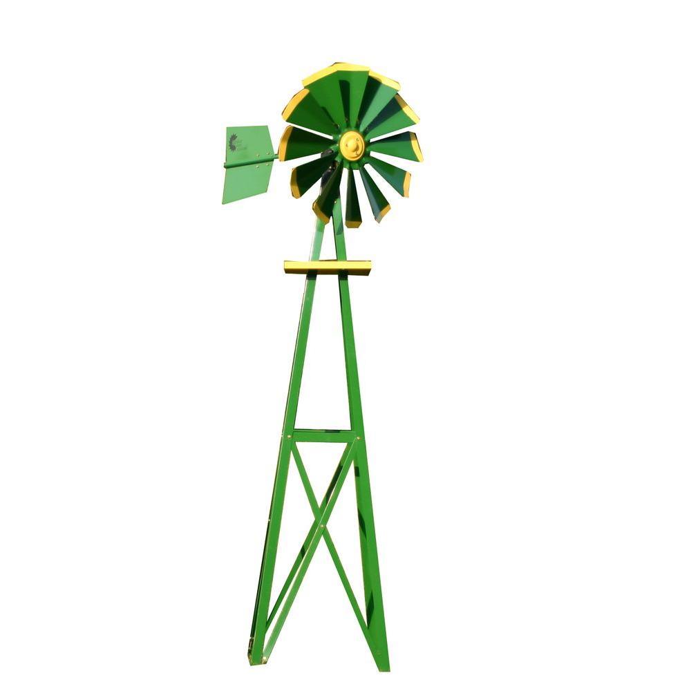 Small Green and Yellow Powder Coated Backyard Windmill