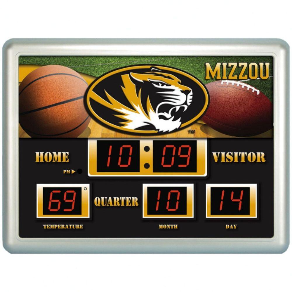 null University of Missiouri 14 in. x 19 in. Scoreboard Clock with Temperature