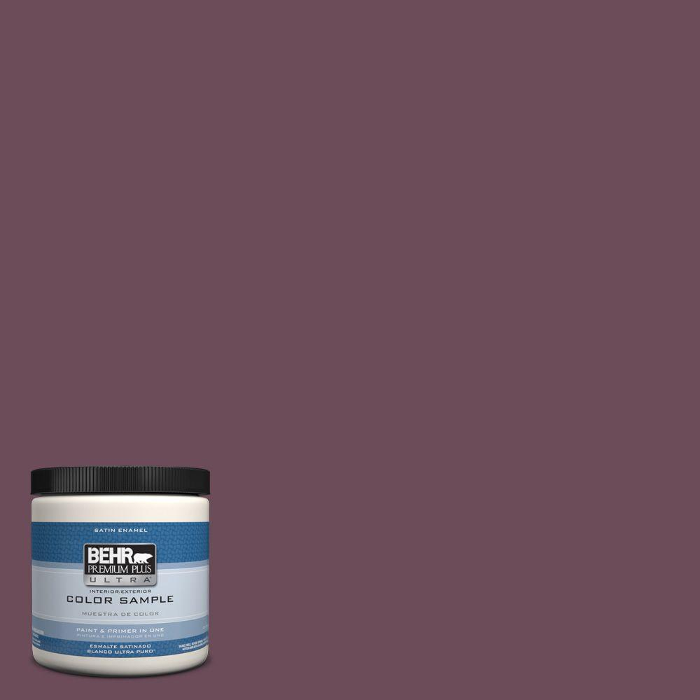 Behr Premium Plus Ultra 8 Oz Ppu1 20 Spiced Plum Interior Exterior Satin Enamel Paint Sample
