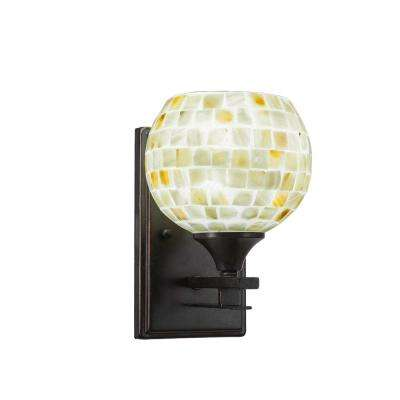 6.75 in. Dark Granite Sconce with 6 in. Mystic Seashell Glass