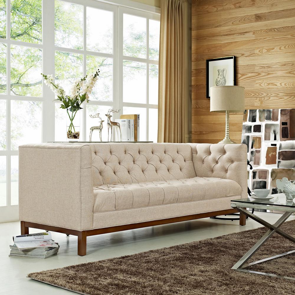 Panache Beige Upholstered Fabric Sofa