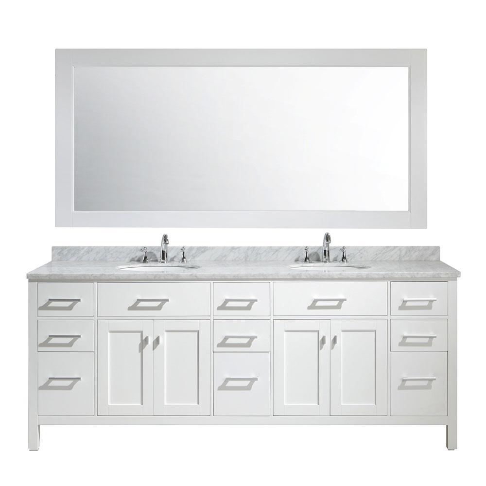 London 84 in. W x 22 in. D x 35 in. H Vanity in White with Marble Vanity Top in Carrara White, Basin and Mirror