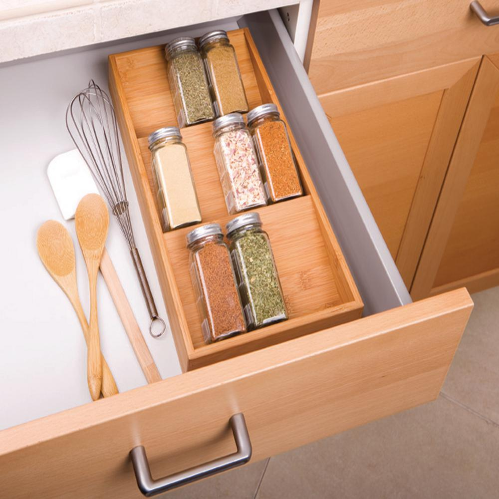 Seville Classics  Tier Light Brown Bamboo Cabinet Drawer Spice Rack