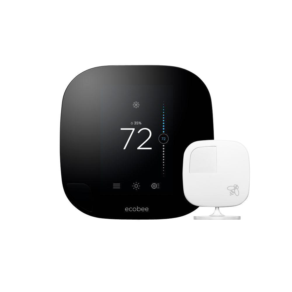 ecobee Ecobee3 7-Day Smarter Wi-Fi Programmable Thermostat with Remote Sensor, HomeKit Enabled
