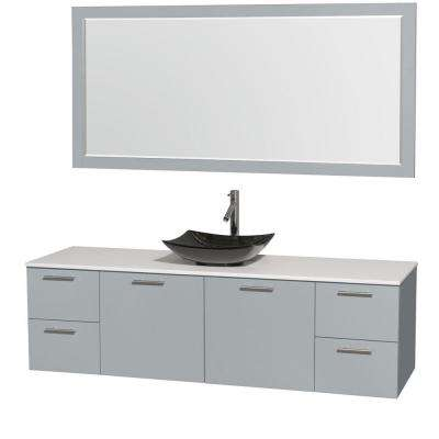 Amare 72 in. W x 22 in. D Vanity in Dove Gray with Solid-Surface Vanity Top in White with Black Basin and 70 in. Mirror