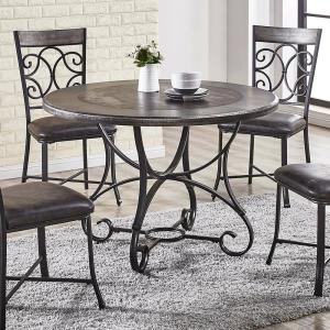 Greystone Round Tile And Wood Top Dining Table