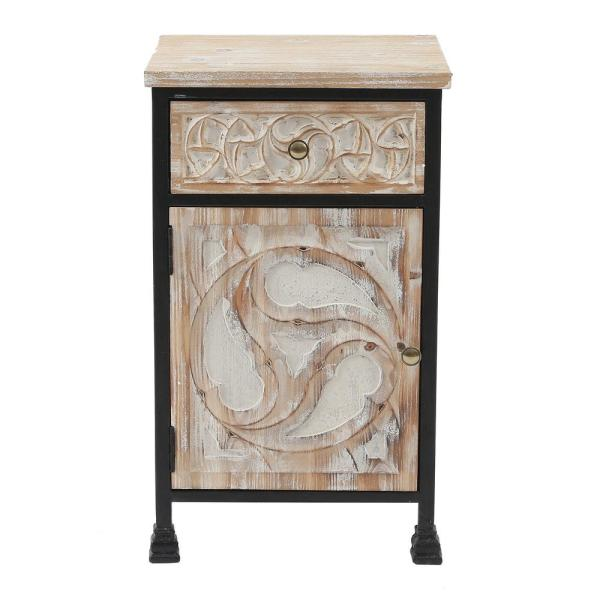 28.8 in. H Natural Wood Finish Metal and Carved Wood 1-Door Accent Table