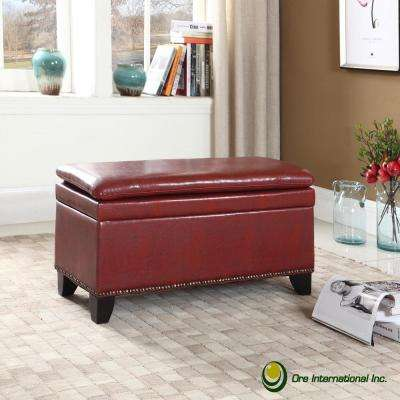 Red Double Cushion Nail Head Storage Bench