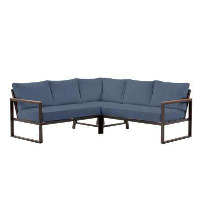 West Park Black Aluminum Outdoor Patio Sectional Sofa Seating Set with CushionGuard Sky Blue Cushions