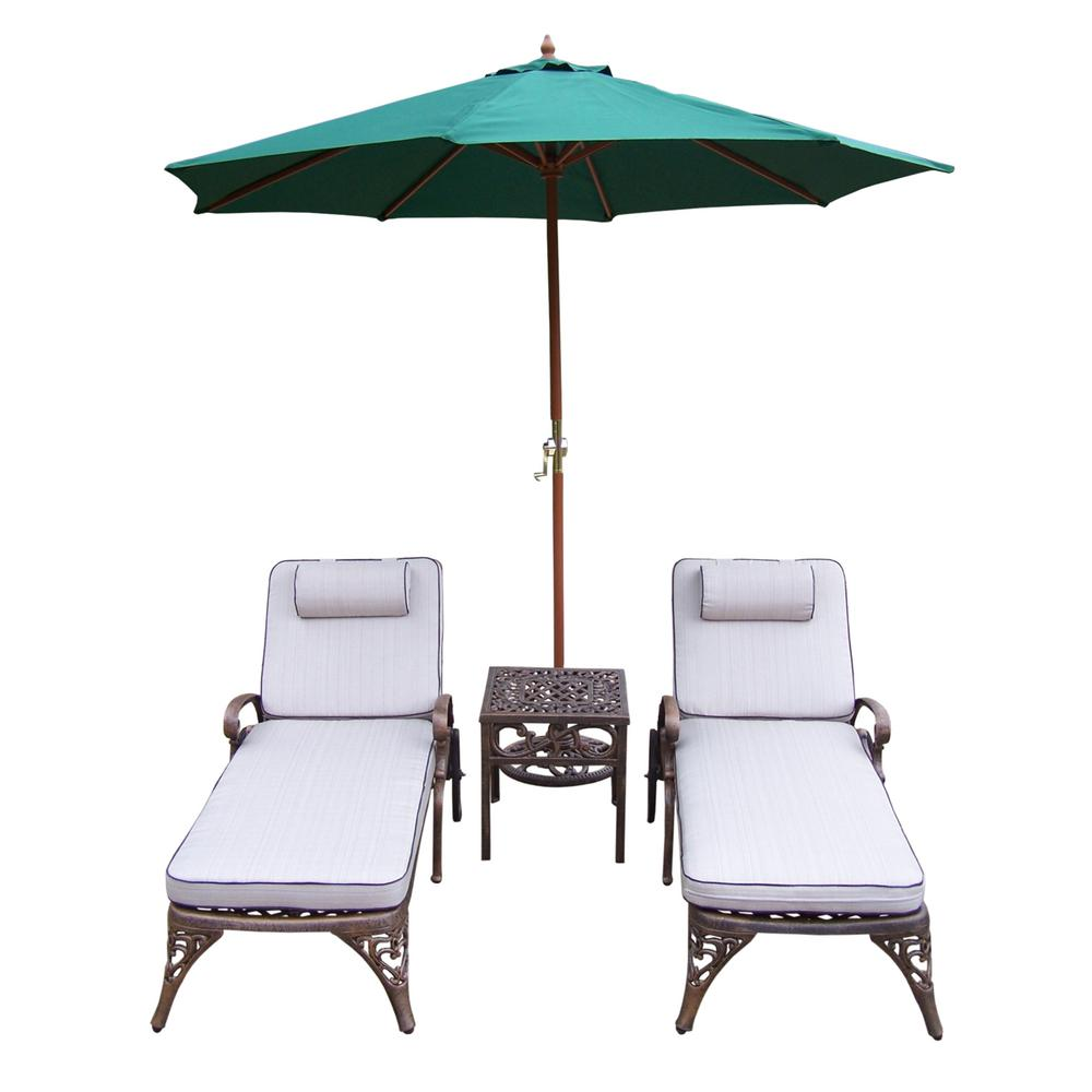 5-Piece Aluminum Outdoor Chaise Lounge Set with Tan Cushions and Green