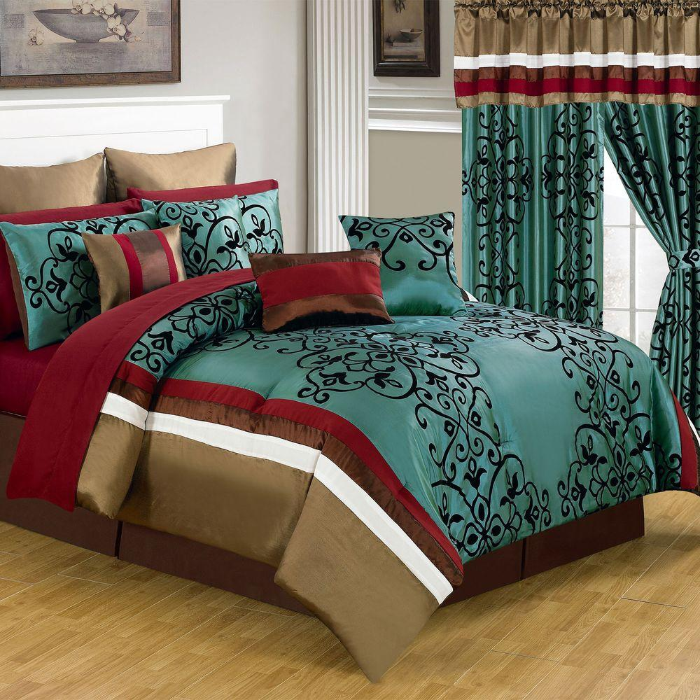 queen bed comforter set Lavish Home Eve Green 24 Piece Queen Comforter Set 66 00013 24pc Q  queen bed comforter set