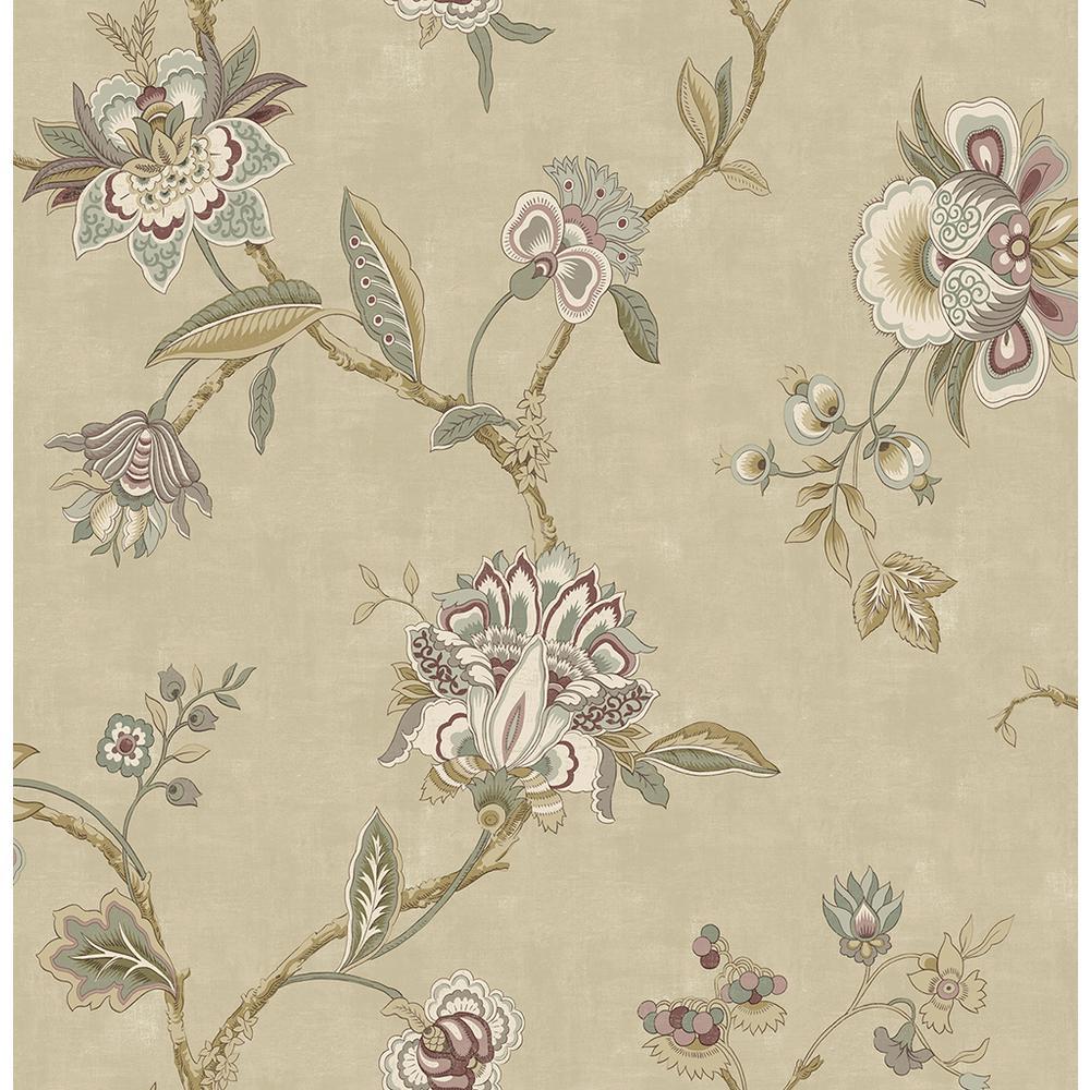 56.4 sq. ft. Madison Gold Jacobean Wallpaper