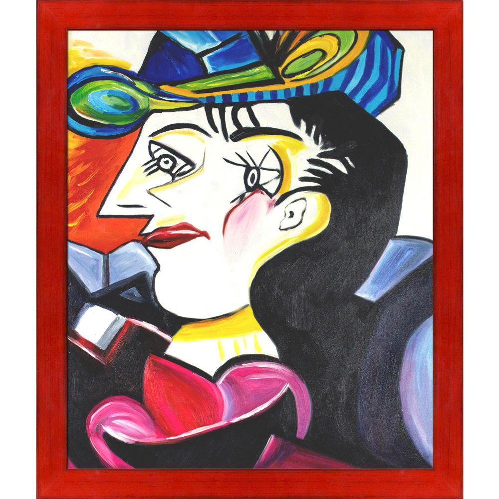 ArtistBe Picasso by Nora, Man With Blue Hat with Stiletto Red Frameby Nora Shepley Canvas Print, Multi-color was $796.0 now $387.06 (51.0% off)
