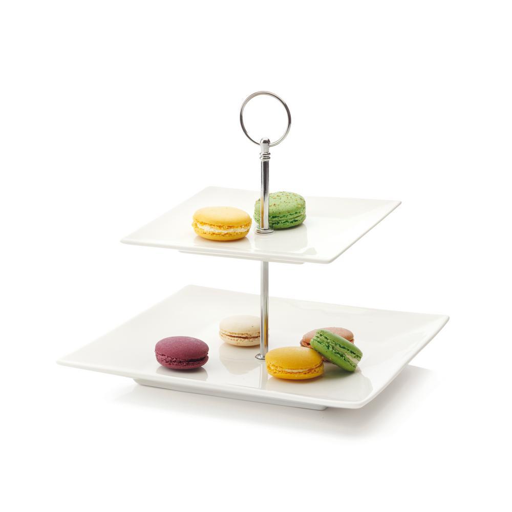 2-Tier White Basics Cosmopolitan Cake Stand