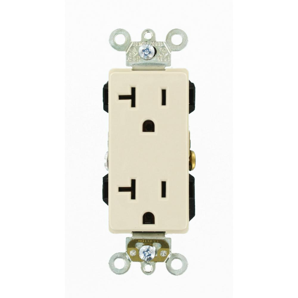 Leviton Decora Plus 20 Amp Industrial Grade Heavy Duty Self Ivory Electrical Outlets Light Switches 15a Gfi Outlet Grounding Duplex Almond